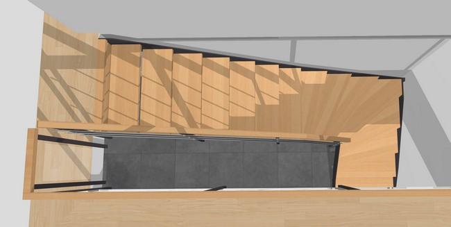Forme d'escalier 1/4 tournant
