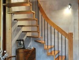 escalier suspendu ouvert bois metal