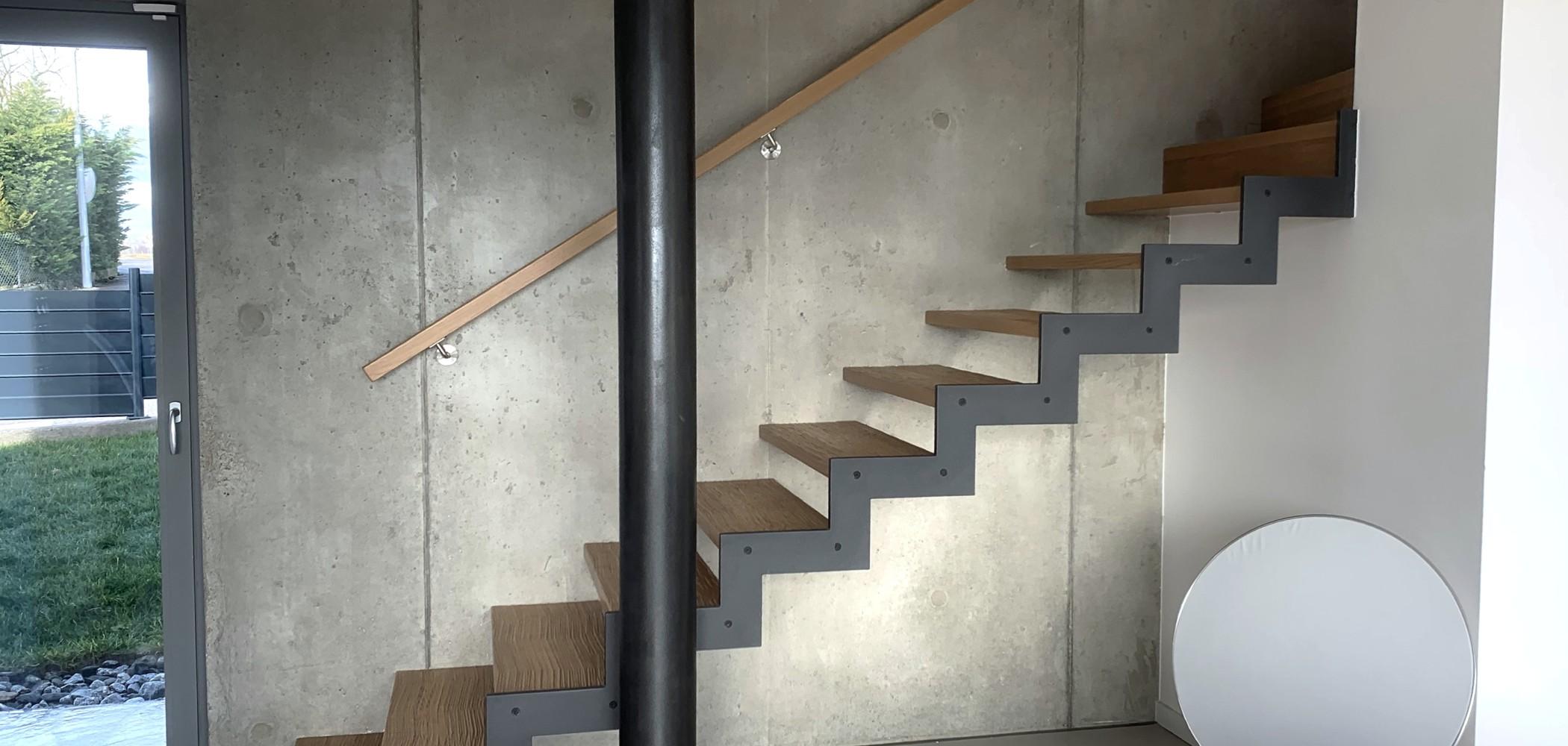 escalier bois sur mesure limon métal crémaillère