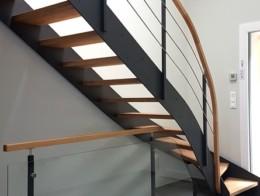 escalier bois métal sur mesure sans contremarche limon droit