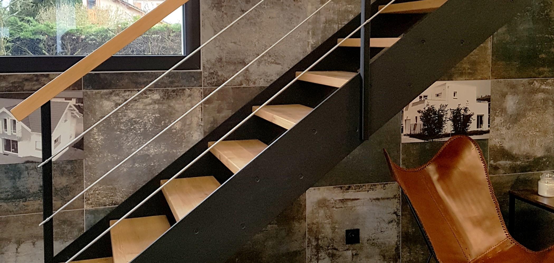 escalier limon droit contemporain bois métal