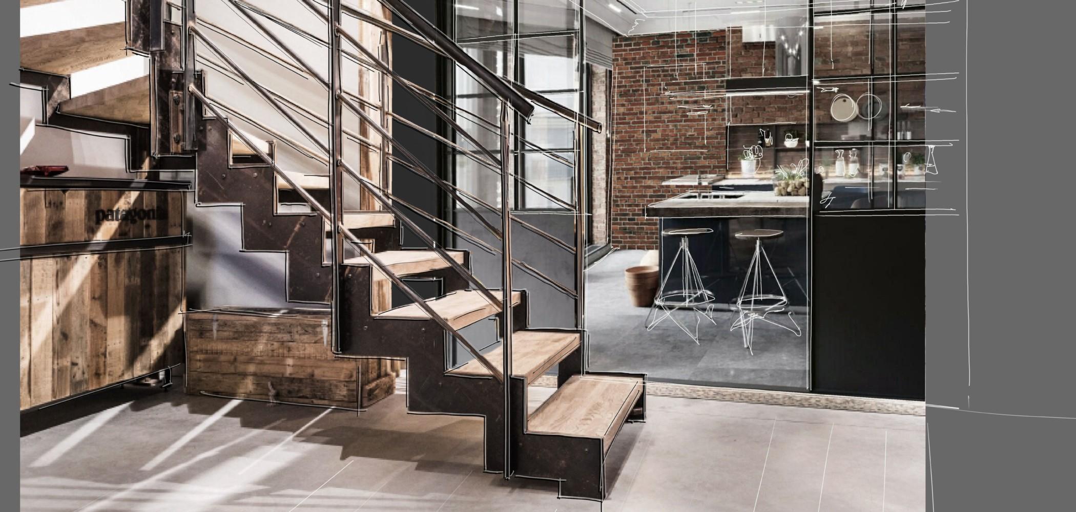 escalier sur mesure limon crémaillère métal