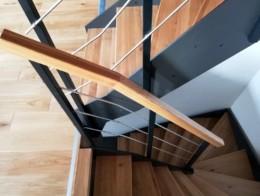 double escalier contemporain limon droit bois metal