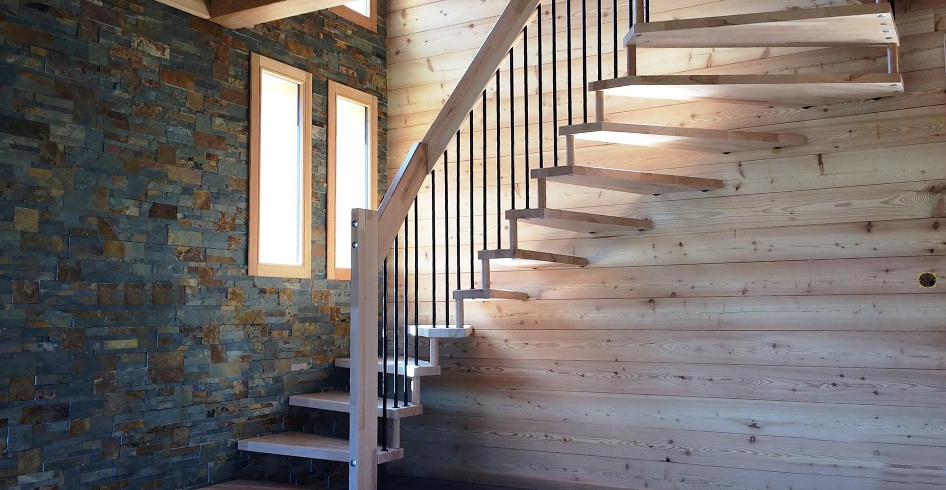 escalier suspendu deux quart tournant pas cher bois metal