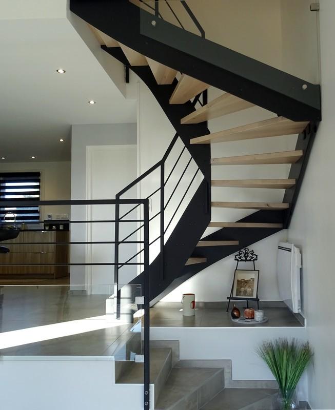 escalier double limon deux quarts tournants bois acier Loft