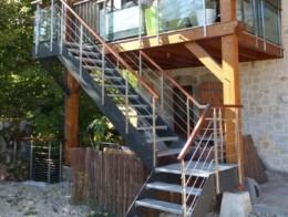 escalier extérieur bois metal design sur mesure