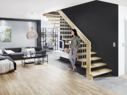 escalier droit suspendu pas cher bois metal