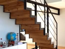escalier marche contremarche bois limon métal