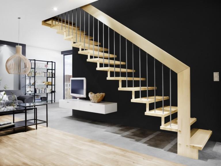 escalier suspendu ouvert bois et metal