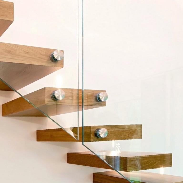 escalier flottant marches bois sur-mesure