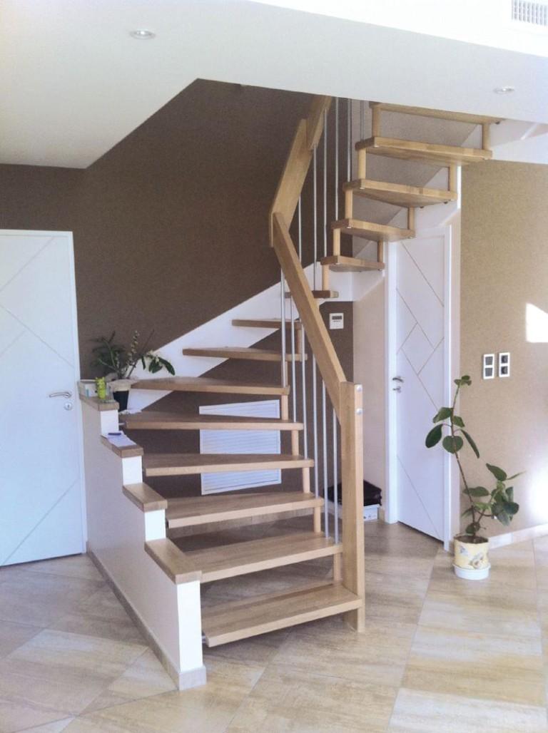 escalier bois metal suspendu